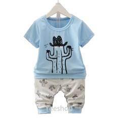 ราคา Yeeshop ชุดเสื้อผ้าเด็กเข้าชุด ลายกระบองเพรชใส่หมวก สีฟ้า 90 1 3Years Yeeshop ใหม่