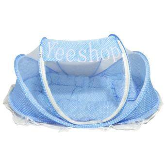 Yeeshop ที่นอนเด็กแบบพกพาพร้อมมุ้งครอบ พร้อมหมอนและฟูก สีฟ้า B1