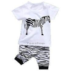 Yeeshop ชุดเสื้อผ้าเด็กเข้าชุด ลายม้าลาย สีขาวดำ 90 60 1 3Years เป็นต้นฉบับ