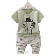 ซื้อ Yeeshop ชุดเสื้อผ้าเด็กเข้าชุด ลายกระบองเพรชใส่หมวก สีเขียว 90 1 3Years ใหม่ล่าสุด