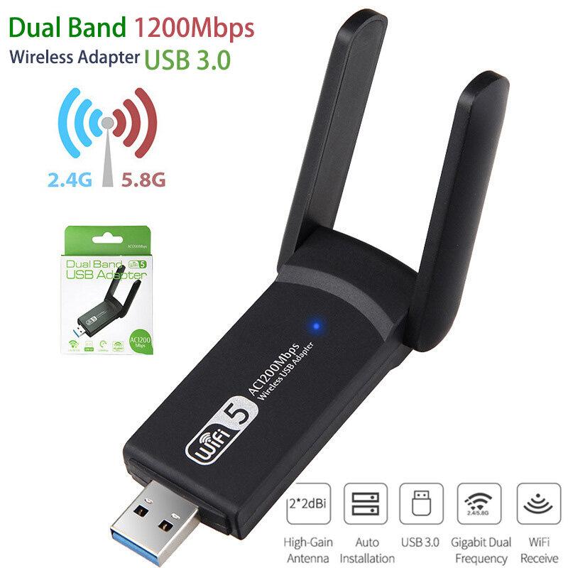 ตัวรับสัญญาณไวไฟ แบบ 1200m Gigabit Dual Band Usb 3.0 Adapter Wifi Wireless 1200mbps Wifi5.