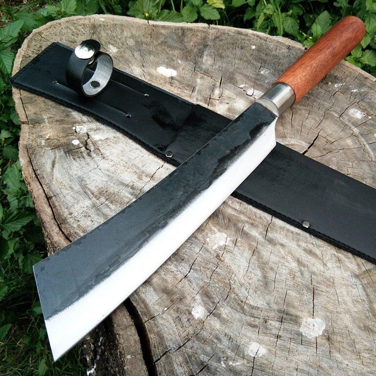 มีดเดินป่า มีดหัวตัด อรัญญิกแท้  ใบมีด 10 นิ้ว เหล็กฝานไถ ด้ามไม้ พร้อมฝักหนัง Pu.