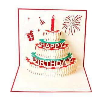Happy Birthday Postcard Greeting Gift Cards Paper 3D Handmade Pop Up Laser Cut Vintage Cake with Envelope