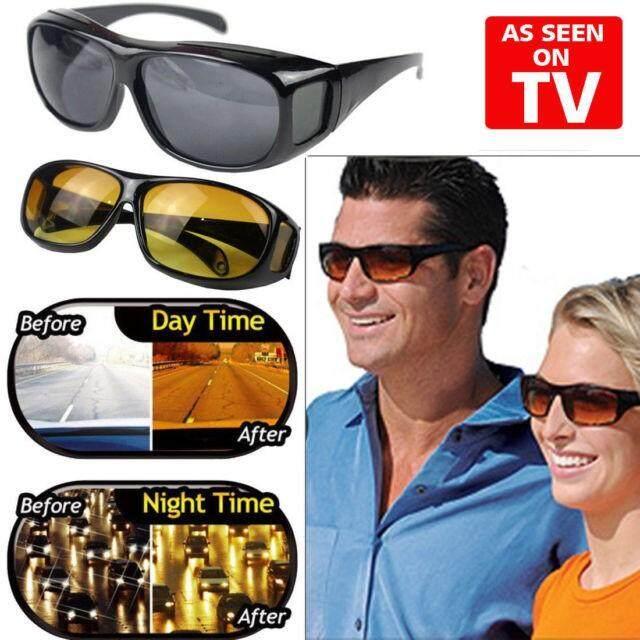 Hd Vision Wrap แว่นตาขับรถเวลากลางวัน 1 อัน / กลางคืน 1 อัน (ชุด 2 ชิ้น).