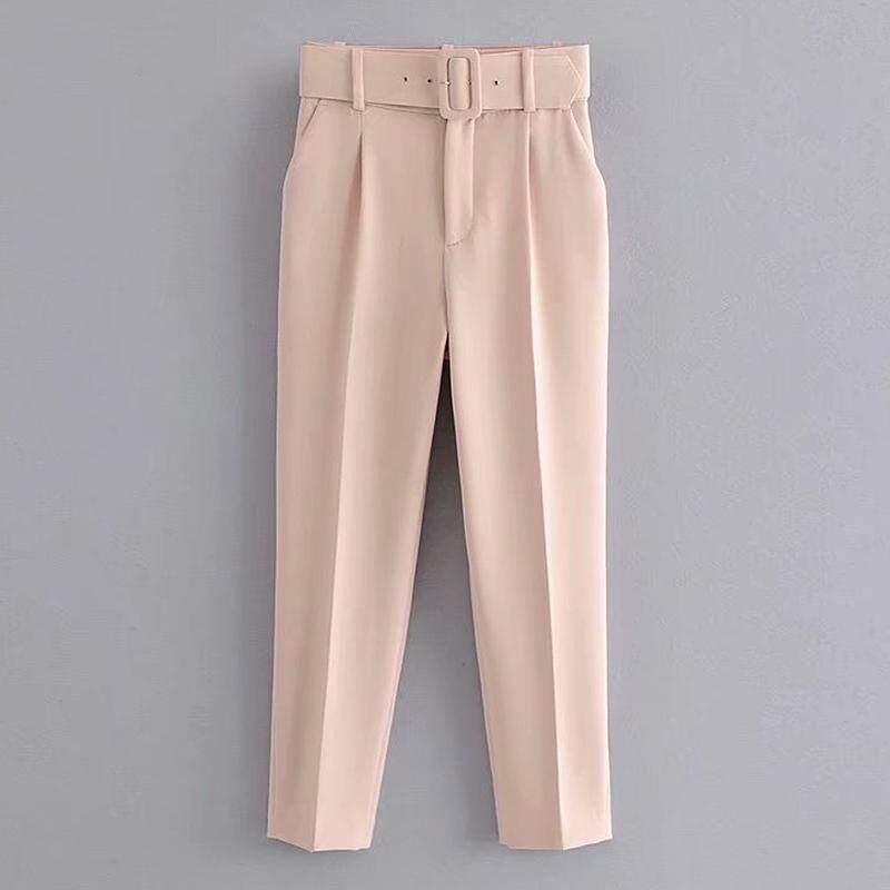 【freesize】เอว 25-34 / สะโพก 37-42 / ยาว34 Pants Fashion For Girls  แฟชั่นผู้หญิงยุโรปและอเมริกาป่าเข็มขัดกับผ้าม่านจีบกางเกงเอวสูงลดความอ้วนลดน้ำหนักบางอารมณ์เก้ากางเกง ขนาดมาถึง Xl.