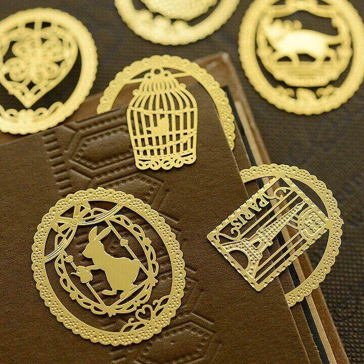 041 - ที่คั่นหนังสือโลหะ ชุด7 ชิ้น 7 ลาย ที่คั่นหนังสือ ที่หนีบ ตัวหนีบหนังสือ ตัวหนีบ.