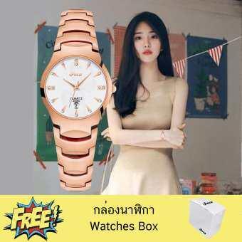 Poca Bosck Lady นาฬิกาข้อมือ analog กระจก sapphire กันรอยขีดข่วน ใช้เข็ม ผู้หญิง แฟชั่น เกาหลี ลด ราคา สายสแตนเลสพิงค์โกล์ด หน้าปัดสีโรสโกล์ด กันน้ำได้ รุ่น Bo Lady Pinkgold ฟรี กล่องนาฬิกา Poca Watch