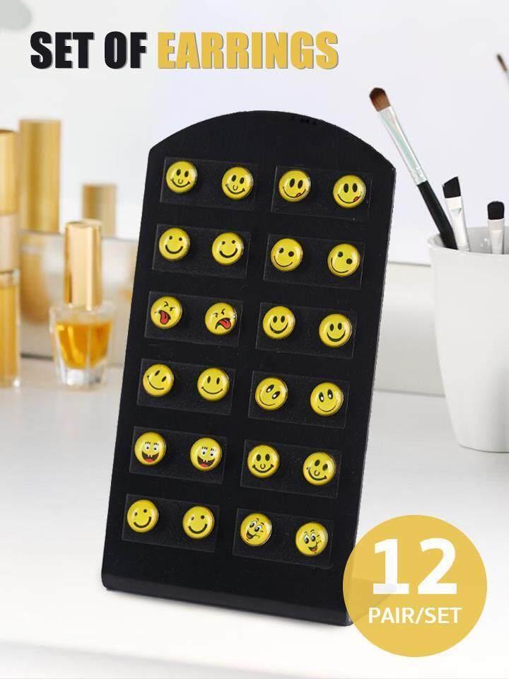 เซ็ตต่างหูแฟชั่น 12 คู่ รูป Emoticon By Dverbuy.
