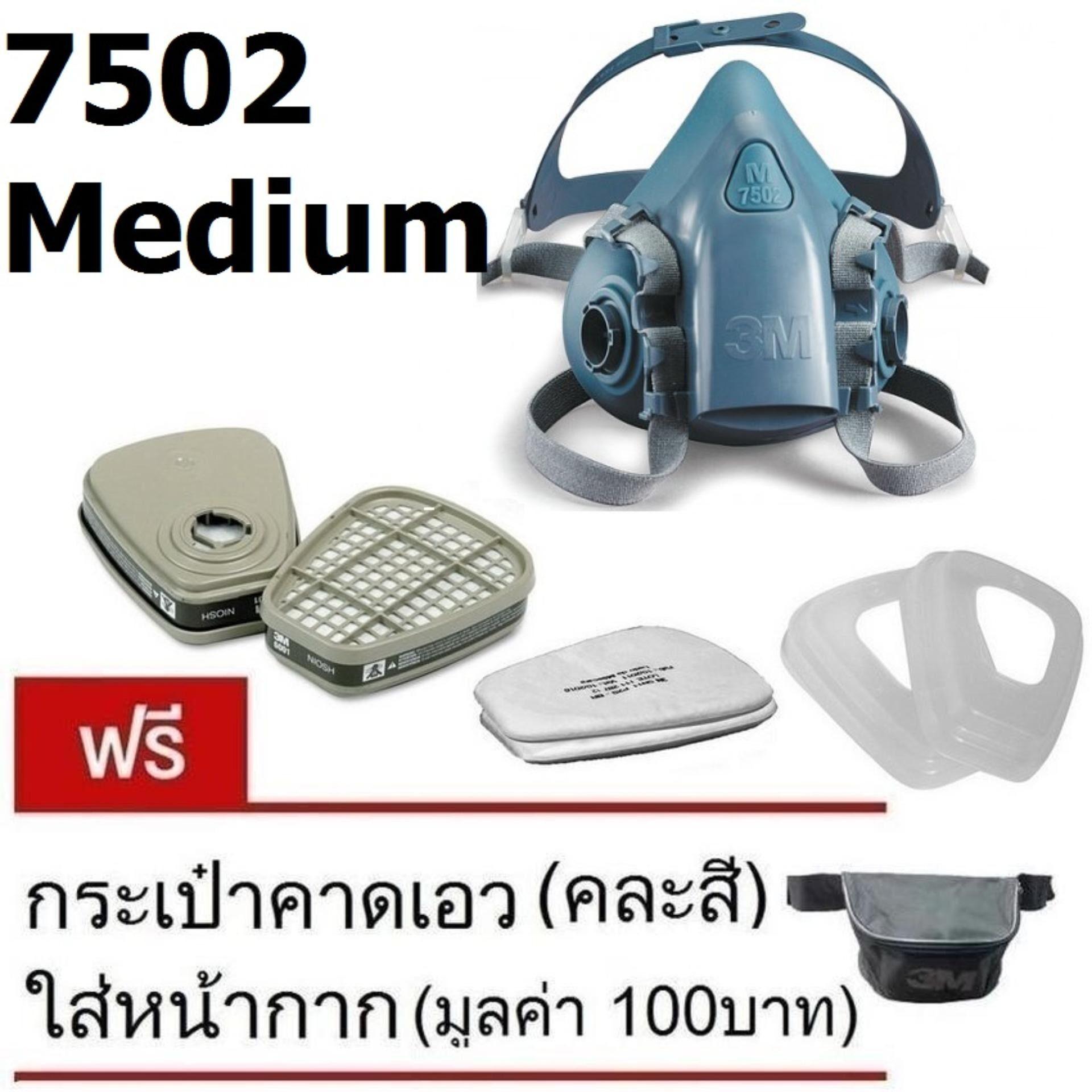 3M 7502 Medium ซิลิโคนครึ่งหน้า ชนิดกรองคู่, ตลับกรอง, แผ่นกรองฝุ่น, ฝาครอบ แถม กระเป๋า