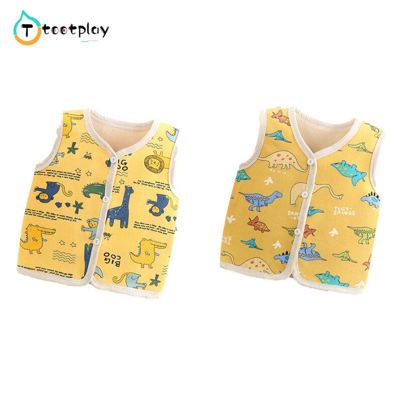 Tootplayเสื้อกั๊กเด็ก,เสื้อแขนกุดบุนวมลายการ์ตูนสำหรับเด็กอายุ1-5ปีใส่ในฤดูใบไม้ร่วงฤดูหนาว.