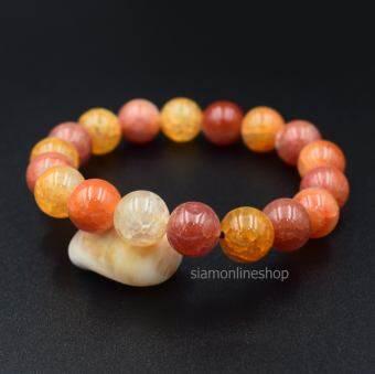 CRACKED AGATE เกล็ดมังกรสีส้ม ขนาด 10 มม. สร้อยข้อมือหินแท้ by siamonlineshop