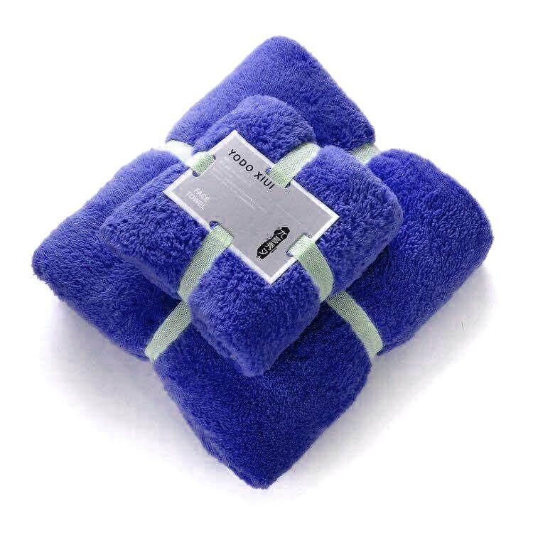 ผ้าเช็ดตัวขนเป็ด (ผ้าเช็ดตัว+ผ้าเช็ดผม) มี 10 สี เนื้อผ้านุ่มมาก.