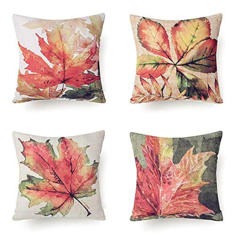 4 Decorative Fall Thanksgiving Maple Leaves Throw Pillow Case Accent Cushion Cover By Ertic.