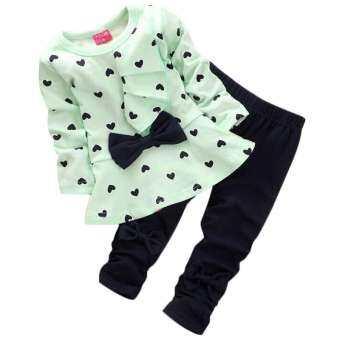 ชุดเสื้อยืด ติดโบว์ พิมพ์ลายรูปหัวใจน่ารัก (สีชมพู)+กางเกงขายาว