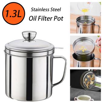 หม้อกรองน้ำมันสแตนเลส ถ้วยกรองน้ำมัน หม้อรองน้ำมัน สแตนเลส พร้อมฝาปิดและตะแกรงกระชอนกรองกาก ความจุ 1.3 ลิตร Stainless Steel Oil Filter Pot Deebillio.n