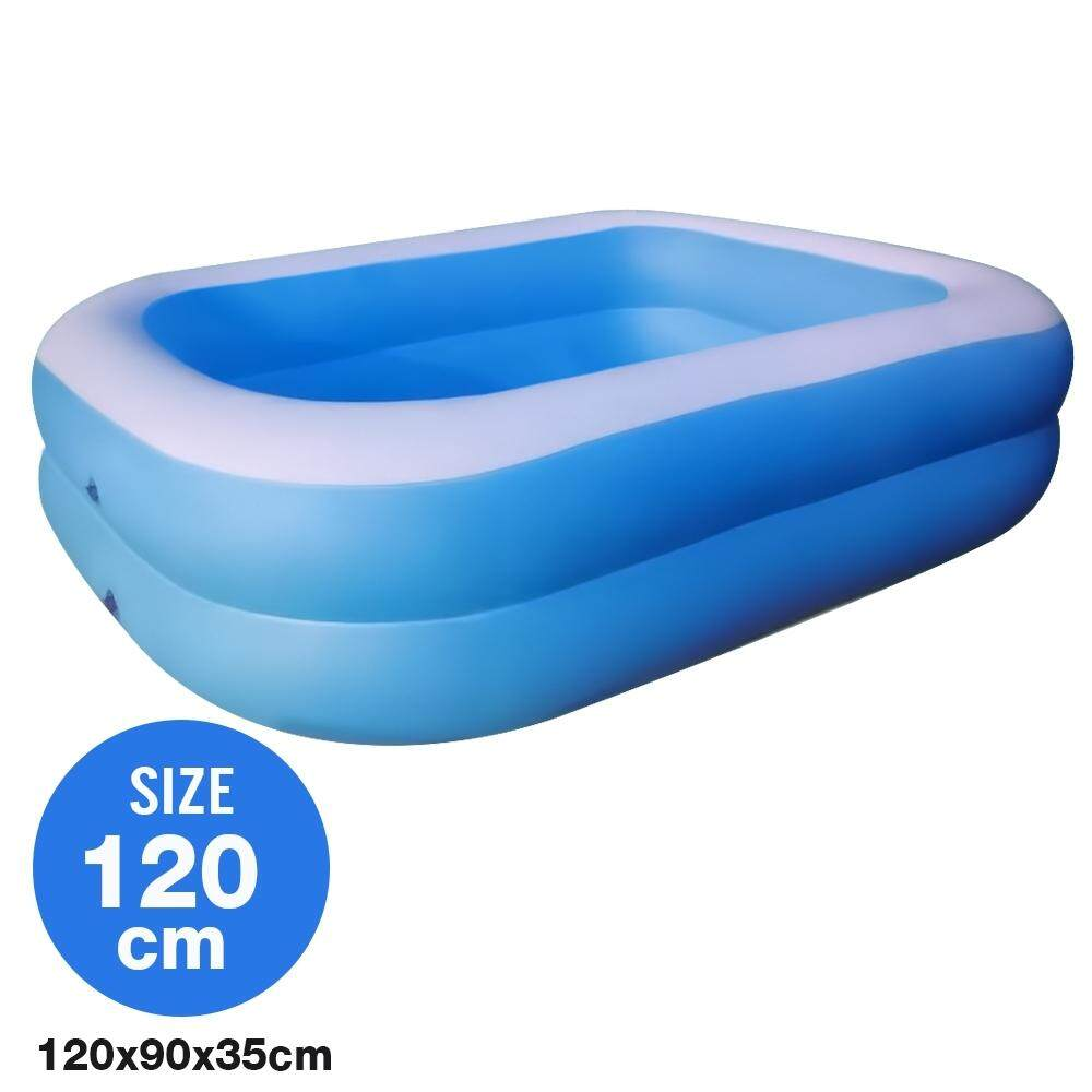 Telecorsa สระน้ำเป่าลม สระว่ายน้ำเป่าลม Family Pool ขนาด 120x90x35 Cm สีฟ้า รุ่น Swim120-06b-Rim-Blue By Mhf Thailand.