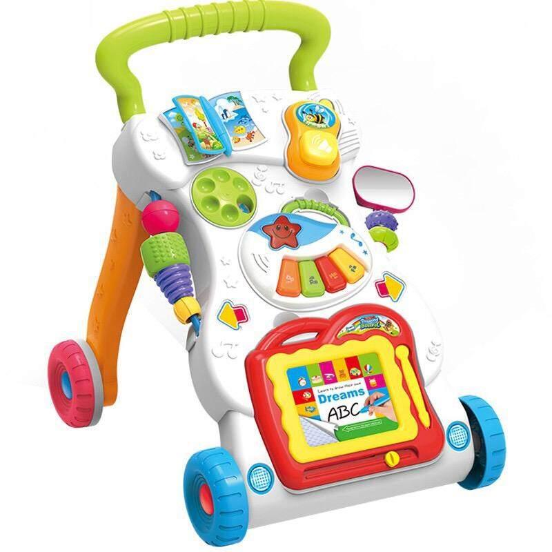 HUANGER รถหัดเดินเด็ก ปรับหนืดได้ มีของเล่นเสริมพัฒนาการในตัว  Walking Cart