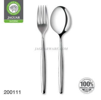 JAGUAR ช้อนส้อมสเตนเลส ลายเจนเนซิส ตราจากัวร์ ช้อนส้อมสแตนเลส 430 แท้ 100% เกรดใช้กับอาหาร Food Grade ISO9001 ผลิตในประเทศไทย ช้อนส้อม แพ็ค24คู่