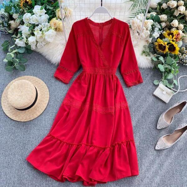 Tam Á, Hải Nam Váy Đi Biển Nữ Mùa Hè Bên Bờ Biển Du Lịch Bohemia Váy Dài Tôn Dáng Thái Lan Màu Đỏ Đầm