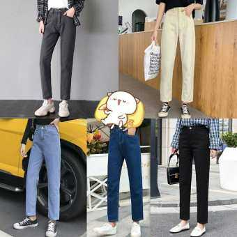Kaykai_Shop กางเกงยีนส์เอวสูงผู้หญิงกางเกงยีนส์หลวมกางเกงฮาเร็มเรียวกางเกงผู้หญิง #1068