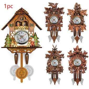 บ้านนกลูกตุ้มไม้แขวนห้องนั่งเล่นตกแต่งนาฬิกา Cuckoo-