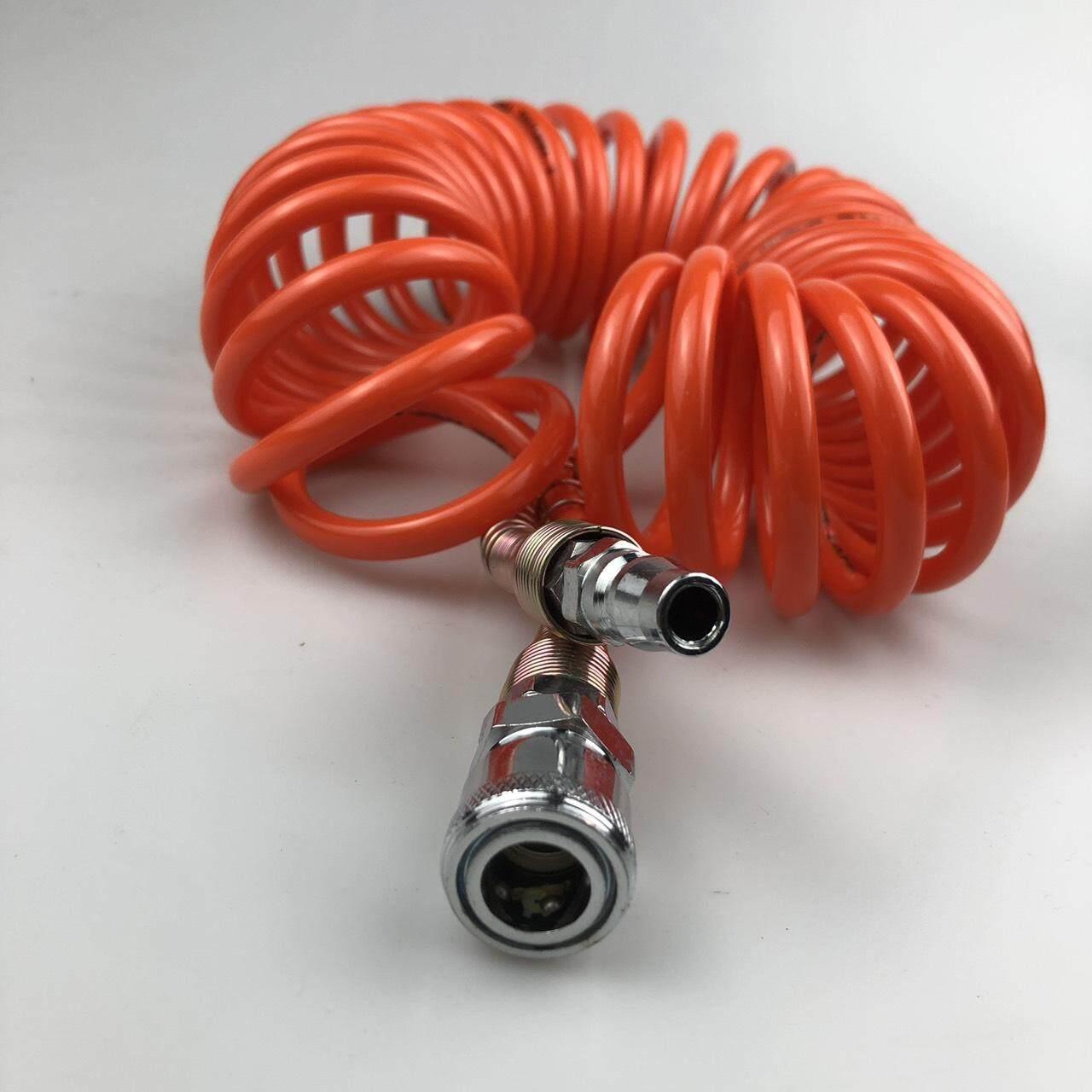 สายลมสปริง PU AIR HOSE ขนาด5*8 ความยาว6เมตร มีคอปเปอร์หัวท้าย (สีส้ม)
