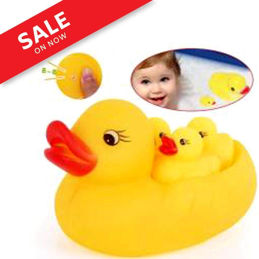 4ชิ้น/เซ็ต ของเล่นอาบน้ำเด็ก เป็ดสีเหลืองขนาดเล็กทำให้เกิดเสียงฉกเด็กเล่นน้ำของเล่นเป็ดว่ายน้ำชายหาดกลางแจ้งของเล่น By 24hours-Shopping.