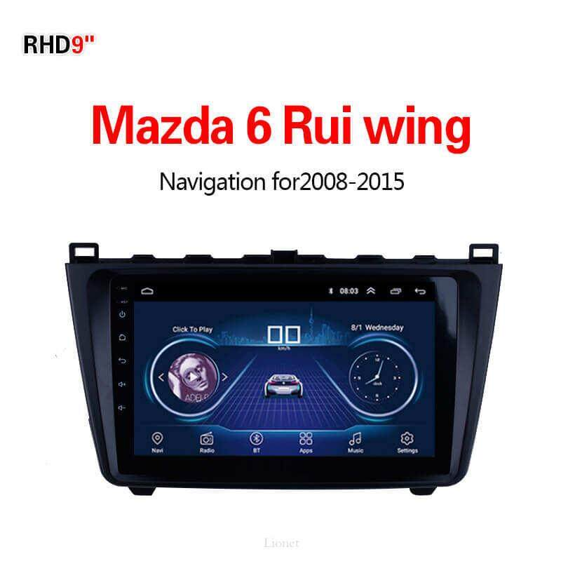 เครื่องนำทาง สำหรับรถยนต์ Mazda 6 Rui Wing 2008-2015 9 Inch Android 8.1 Wifi 1g/16g แผนที่ในการนำทาง By Gointer.