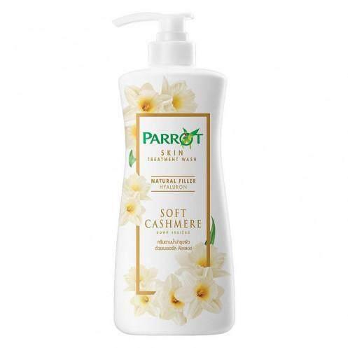 PARROT Shower Cream Natural Filler Hyaluron Soft Cashmere Scent White Color 500 ML.สบู่-ครีมอาบน้ำผลิตภัณฑ์ดูแลผิวกาย