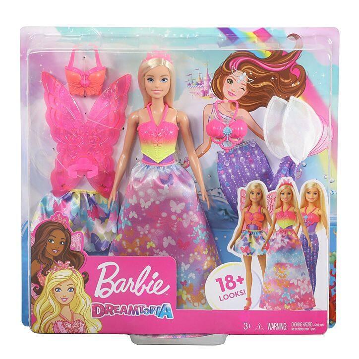 Barbie™ Dreamtopia Dress Up Doll Gift Set, ตุ๊กตา บาร์บี้ ดรีมโทเปีย เปลื่ยนชุดได้ 18 แบบ Gjk40.