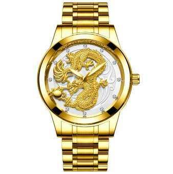 FNGEEN นาฬิกาข้อมือ ลายมังกร สายแสตนเลสสีทอง และ สายหนัง  (ส่งจากไทยไวแน่นอน) เสริมมงคล เสริมโชคลาภ-