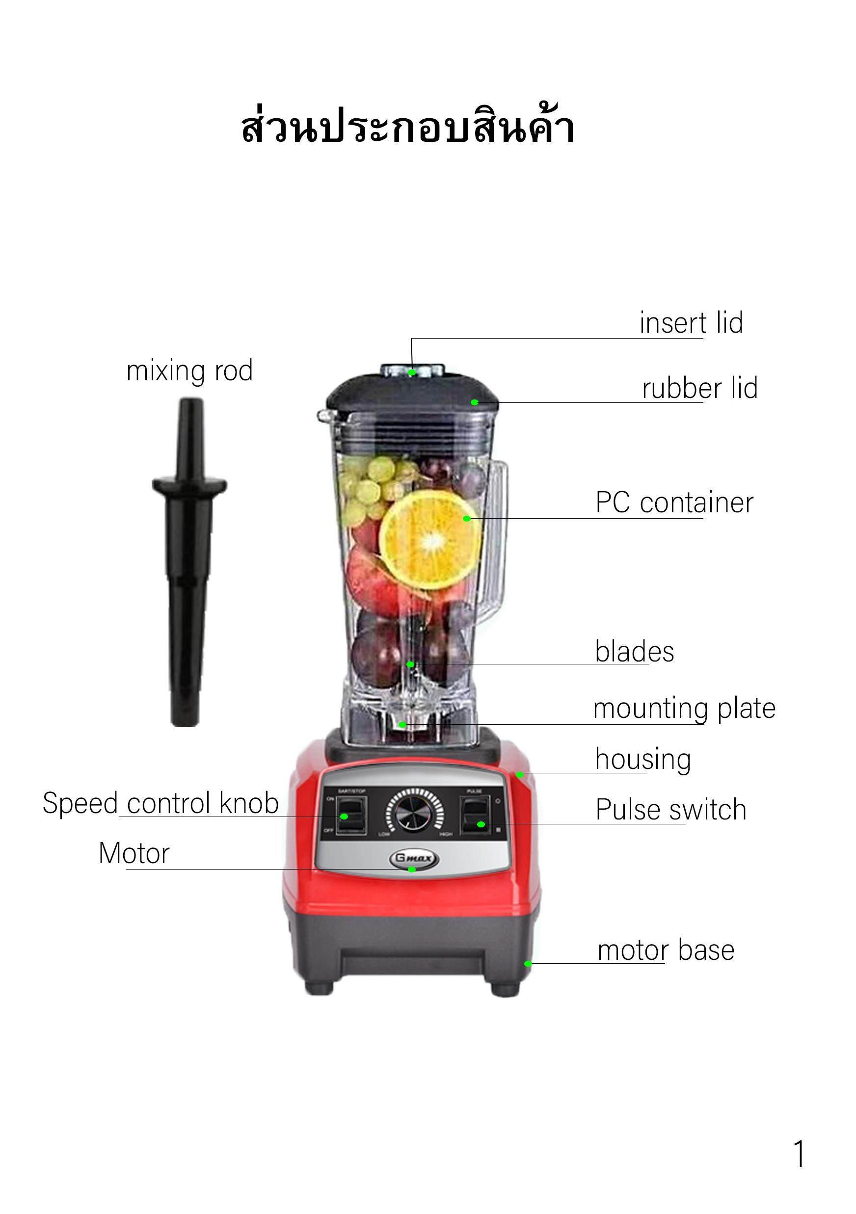 GMAX ลดราคาไฟลุก เครื่องปั่นน้ำผลไม้ 1200W 6 ใบมีด รุ่น BLR-02  ส่งฟรี รับประกัน 1 ปี ส่งฟรีเคอร์รี่