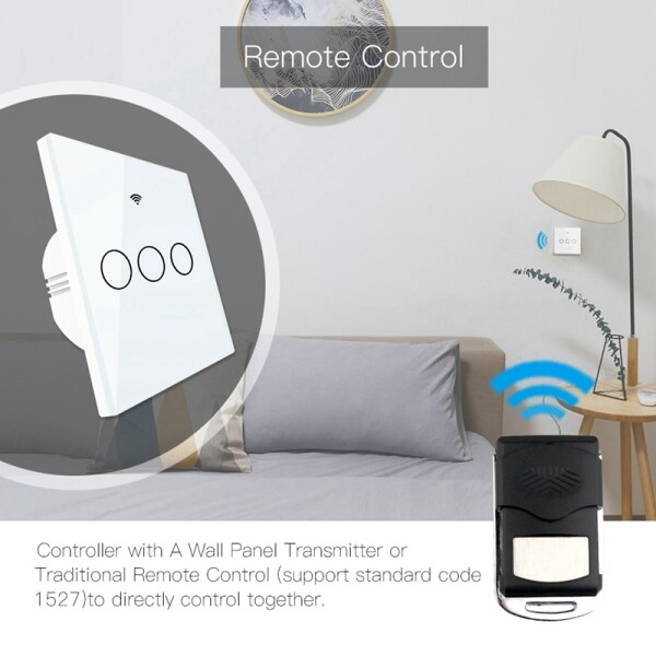WiFi Smart Switch Remote Control Glass Panel Tuya Light Switch Works with Alexa Echo Google Home RF433 EU Type Touch