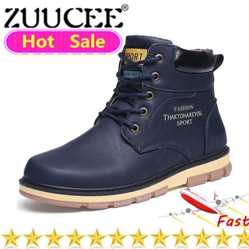 Zuucee แฟชั่นผู้ชายรองเท้าบูท Martin รองเท้าขนาดใหญ่กลางบู๊ทคุณภาพสูง High - Top รองเท้าสำหรับทำงานสำหรับชาย (สีฟ้า) - Intl By Zuucee.