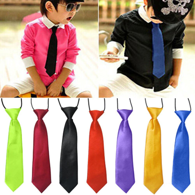 เนคไท เน็คไท สำหรับเด็ก School Boys Kids Children Baby Wedding Banquet Solid Colour Elastic Tie Necktie.