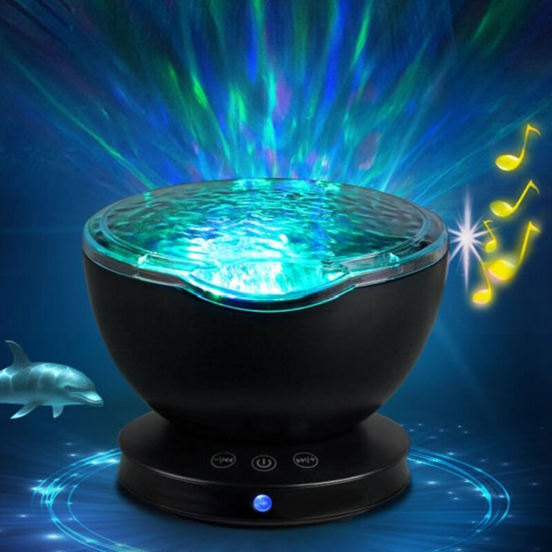 Ocean Wave Projector, Night Light Lamp with Adjustable Lightness 7 Lighting Modes Music Speaker Light Show LED Night Light Projector Lamp for Baby Kids Adult Bedroom Living Room