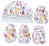 โปรโมชั่น Attoon ชุดหมวก ถุงมือ ถุงเท้า เด็กแรกเกิด ผ้า Cotton สีชมพู ถูก
