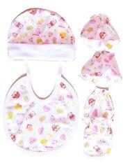 ขาย Attoon ชุด4ชิ้นหมวก ผ้ากันเปือน ถุงมือ ถุงเท้า เด็กแรกเกิด สีชมพู ถูก ชลบุรี