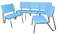 ซื้อ Inter Steel โซฟาขาเหล็ก รุ่น Sofa Set 5 ที่นั่ง ขาเหล็กชุบโครเมี่ยมเงา สีฟ้า ใหม่ล่าสุด