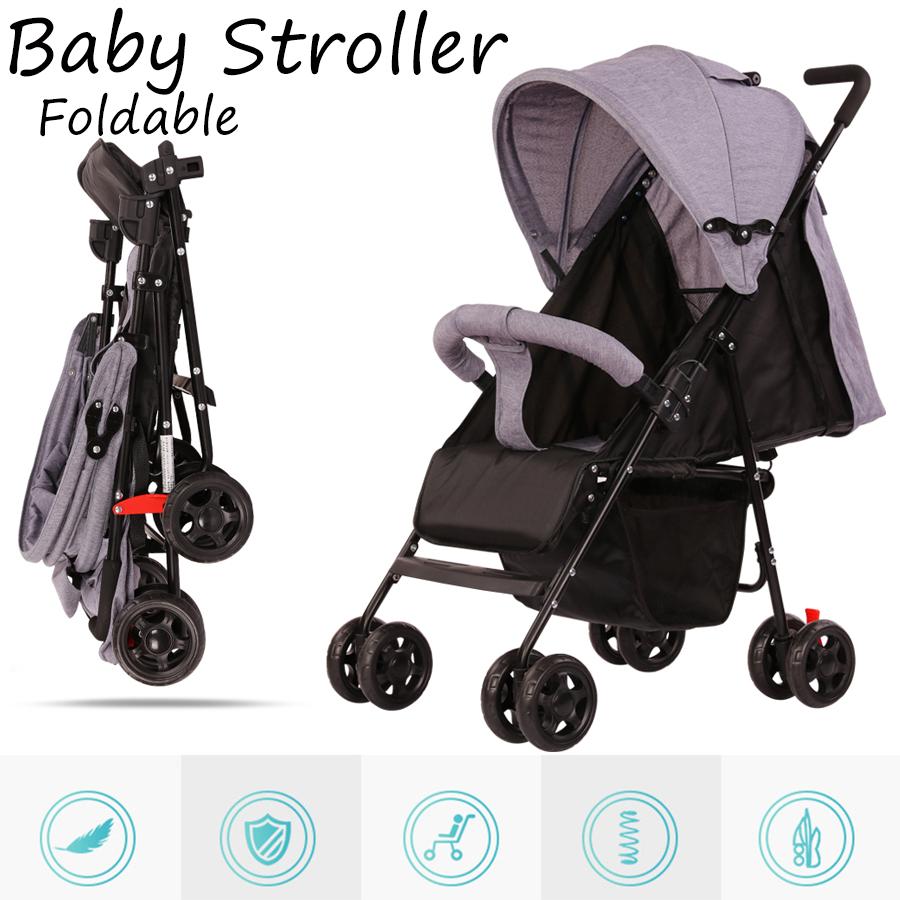 รถเข็นเด็ก เข็นหน้า-หลัง ใช้ได้ตั้งเเต่เเรกเกิด ปรับ 3 ระดับ นั่ง / เอน / นอน 170 องศา โครงเหล็ก SGS รับน้ำหนักได้มากถึง 50kg Foldable baby stroller trolley Xliving