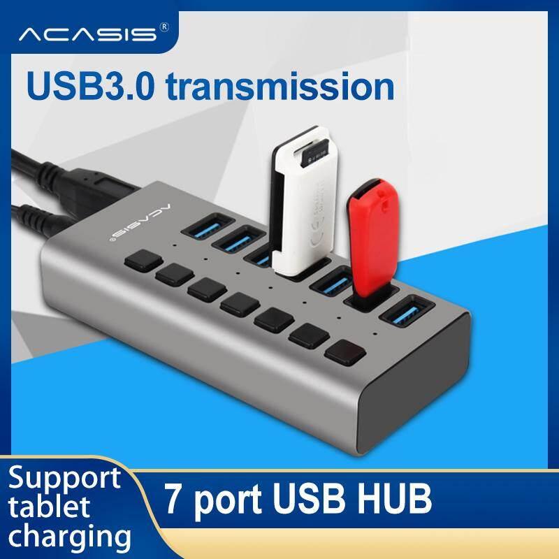 Acasis Usb Hub 3.0 ความเร็วสูง 7 พอร์ต Usb 3.0 ฮับตัวแยก On/off สวิทช์ Eu/us Power อะแดปเตอร์สำหรับ Macbook แล็ปท็อป Pc.