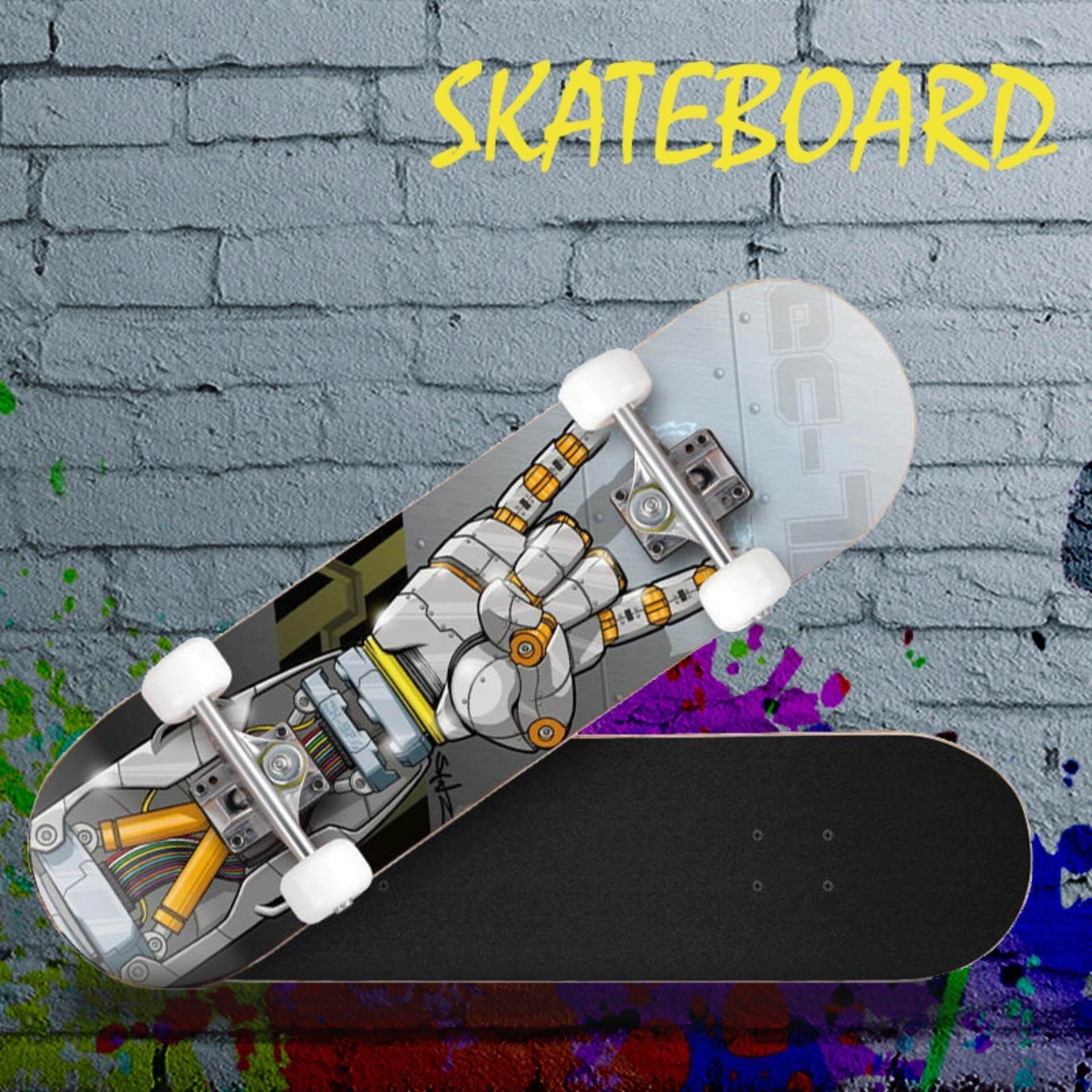 skateboard สเก็ตบอร์ด สเก็ตบอร์ดสไลด์ สี่ล้อเด็กผู้ใหญ่กระดานยาว สันทนาการกลางแจ้ง Unisex -skateboard สเก็ตบอร์ดสำหรับผู้เริ่มเล่น /มืออาชีพ