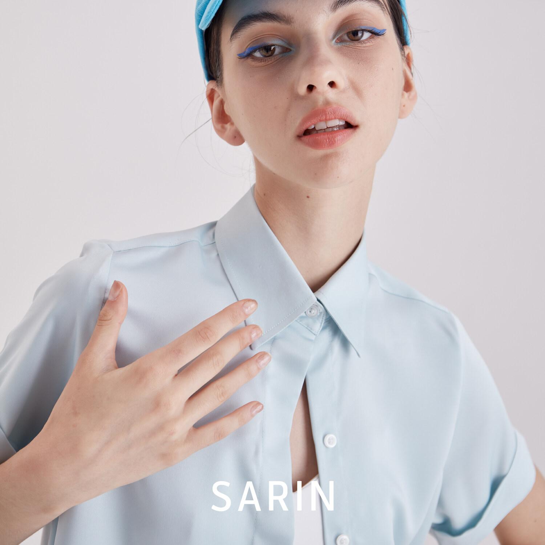 Sarin เสื้อ แขนสั้น Silk 100% รุ่น Rosé กระดุมซ่อน (พรีออเดอร์ 2 สัปดาห์).