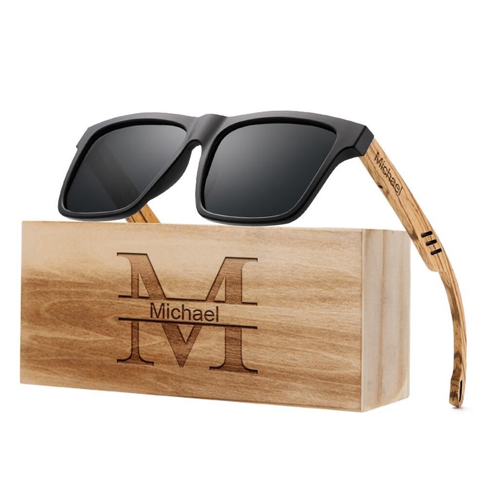 Square sunglasses Wood sunglasses model Berna Wooden sunglasses for men and women genderless eyewear Polarized lenses