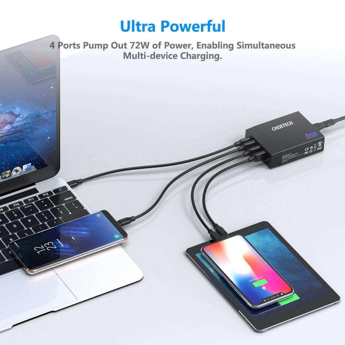 CHOETECH อแดปเตอร์ชาร์จไฟ 72W 4 พอร์ต USB C พร้อมพอร์ต 60W Power Delivery รองรับ MacBook,iPad Pro 2018,iPhone Xs Max/XR/X/8,S10/S9/S8,Nintendo Switch และอีกมากมาย