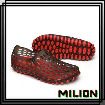 MiLion Summer Men And Women Flip Flops & Sandals Slippers ฤดูร้อนกลวงสบาย ๆ รองเท้า Unisex คู่กลางแจ้งรองเท้าแตะชายหาดระบายอากาศแฟลตน้ำรองเท้า -intl- (ขนาด: 36-45)