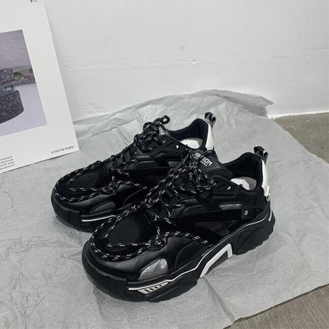 Giày chunky sneaker nam thu đông giày hot trên mạng siêu hot instagram dễ phối cặp đôi đế giày màu đen giày trượt ván thể thao giày sành điệu phản quang giá rẻ