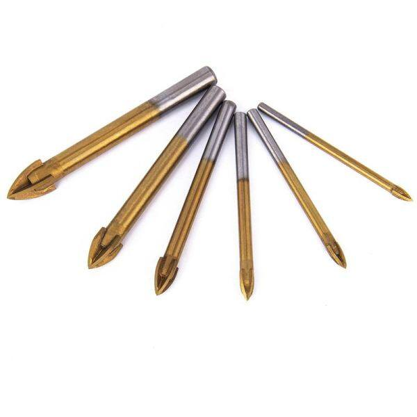 Bảng giá 6pcs Titanium Coated Glass Drill Bits Set 4 Cutting Edges Cross Spear Head Drill with Hex Shank for Ceramic Tile Marble Mirror and Glass Phong Vũ