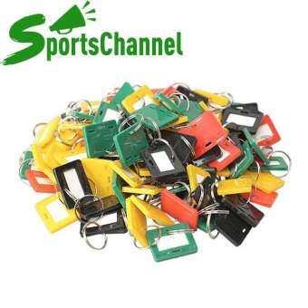 sportschannel 100 ชิ้นพลาสติกพวงกุญแจคีย์แท็ก 5 สไตล์ ID ป้ายชื่อ Key Tags SPLIT RING