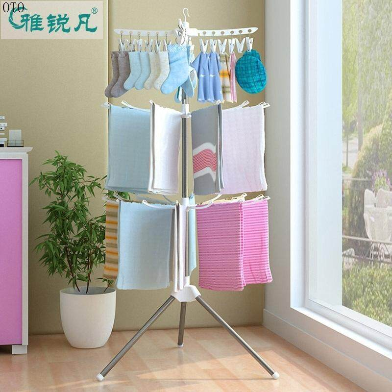 Otxq Multi-functional Drying Rack Towel Drying Rack Infant Diaper Rack Stainless Steel Multilayer Clothes Rack